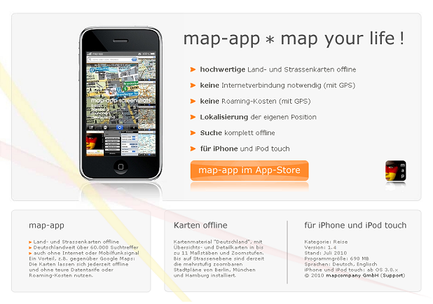 map-app für iPhone und iPod touch